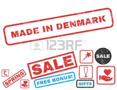 Made In Denmark text rubber seal stamp watermark with Valentines sale bonus. Captions inside rectangular banner with grunge design and dust texture. Vector signs for trading on a white background.