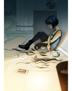 Artist Perfectly Illustrates The Joys Of Living Alone. The Photos Are So Relatab… Artist Perfectly Illustrates The Joys Of Living Alone. The Photos Are So Relatable Art And Illustration, Dark Art Illustrations, Sad Drawings, Arte Obscura, Sad Art, Anime Art Girl, Anime Girls, Aesthetic Art, Cartoon Art
