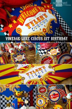 Vintage Circus luxe 1st birthday party ideas. Circus party backdrop, carnival candy buffet tags, circus candy bar wrappers, cupcake toppers and more. Celebrate your little one's circus or carnival birthday. #circusparty