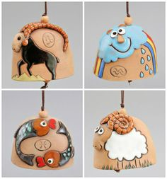Zodiac Sign Ceramic Bell: Aquarius, Capricorn, Pisces, Aries Zodiac SIng Bell Birthday Gift Zodiac Sign Ceramic by Molinukas Stoneware Clay, Ceramic Clay, Pottery Sculpture, Pottery Art, Cerámica Ideas, Baby Shower Souvenirs, How To Make Clay, Creta, Ceramic Animals