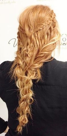 viking braid <3 long curly hairstyles
