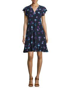 TCH0K Rebecca Taylor Floral-Print Silk V-Neck Dress