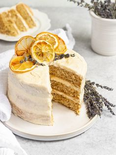 The BEST Vegan Lemon Lavender Layer Cake! This cake started off with 3 6-inch cake layers featuring a soft, fluffy, & moist lemon lavender cake. Then we add on layers of eggless lemon curd and dairy-free lemon lavender buttercream frosting. To finish off this vegan layer cake, we frost it and add on dried lemon slices and dried lavender for a beautiful lemon layer cake with a lemon curd filling! #sgtoeats #lemonlavendercake #veganlemoncake #lemonlayercake Vegan Lemon Curd, Lemon Curd Filling, Vegan Frosting, Buttercream Frosting, Lemon Layer Cakes, Lavender Cake, Dried Lemon, Vegan Main Dishes, Cake Fillings