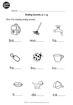 Free preschool phonics ending sounds p and g worksheet for preschool or kindergarten class.