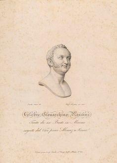 Gioacchino Rossini (1792-1868), an engraving (1822), drawn by Emidio Cateni (1745-1724), engraved by Raphael Morghen (1758-1833), of a bust (1819), by José Alvarez de Pereira y Cubero (1768-1827).