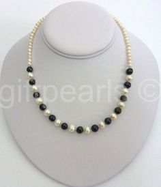 An 18 inch pearl necklace with alternating large contrasting pearls and tiny white pearls finished with a T-bar and loop clasp or you can specify the Black Pearl Jewelry, Black And White Necklaces, White Pearl Necklace, Pearl White, Beaded Jewelry, Beaded Necklace, Beaded Bracelets, Pearls, Gifts