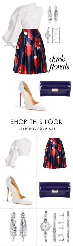 """""""Untitled #2663"""" by nadia-n-pow on Polyvore featuring Jacquemus, WithChic, Christian Louboutin, Jimmy Choo, Anne Klein and darkflorals"""