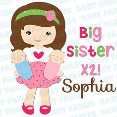 Big Sister Iron on Transfer Big Sister to Twins Boy Girl Twins Identical Twins Big Sis Baby Announcement Gender Reveal Heat Transfer sister