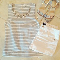 J. Crew jeweled striped tank.  Factory white denim shorts.  Old Navy silver metallic sandals