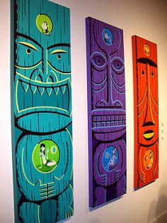 Tiki art by Josh Agle (SHAG) - 3 panels for yard inspiration. Tiki art by Josh Agle (SHAG) - 3 pan Tiki Maske, Tiki Art, Tiki Tiki, Tiki Decor, Tiki Lounge, Tiki Room, Diy Bar, Luau Party, Wood Art