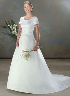 Short Sleeve Square Neck Informal Wedding Dresses