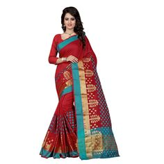 6e89dedfc9bab Artistic Red Color Tussar Silk Kanchivaram Saree at just Rs.925 - on www