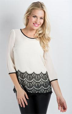 Lovely in Lace Top- Egret from DownEast Basics