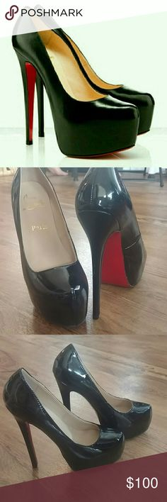 """CL Black Daffodil Faux Patent Leather Stilettos Beautiful condition. No marks to the red sole what so ever! Price r ef lects!  Heel is approx just a touch over 6"""". All markings in place! Christian Louboutin Shoes Heels"""