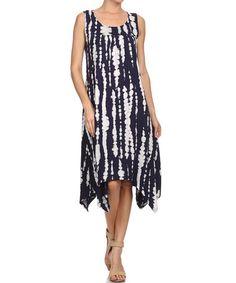 Loving this Navy & White Tie-Dye Stripe Handkerchief Dress on #zulily! #zulilyfinds