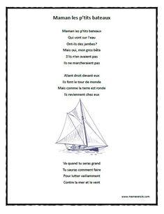 Chansons - Prescolaire - Maman, les p'tits bateaux - Chanson à imprimer en .pdf
