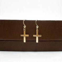 14k Gold Filled Small Cross Earring, Tiny Cross Earring by StarringYouJewelry, $15.00