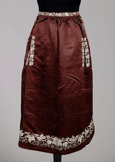 Apron, 1850-60, silk