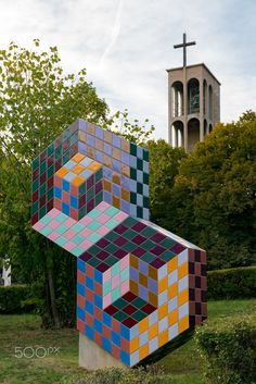 Sign sculpture of Victor Vasarely, in front of the Pálosok church, Pécs, Hungary. Victor Vasarely, Hungary, Cube, Sculpture, Signs, Outdoor Decor, Photos, Instagram, Art