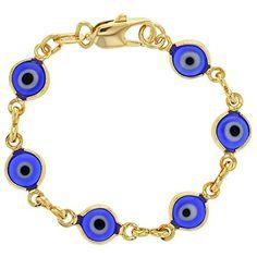 "Gold Plated 18k Blue Murano Glass Evil Eye Greek Turkish Bracelet Newborn 4.5"" - http://www.jewelryfashionlife.com/gold-plated-18k-blue-murano-glass-evil-eye-greek-turkish-bracelet-newborn-4-5/"