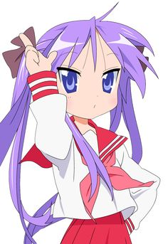 Kagami - Lucky Star. She is bit egotistical and somewhat weak on common household chores like cleaning and cooking. She is straight and intolerant type. However, she is prone to become shy and lonely at times. She is constantly attempting to hide the fact that she had a deep sense of attachment to her friends.