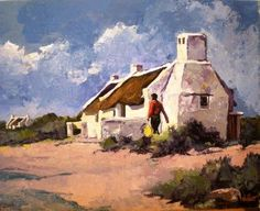 Purchase artwork House at Strulsbaai - Oil Painting by South African Artist Ted Hoefsloot African Art Paintings, African Artwork, Landscape Art, Landscape Paintings, Cottage Art, South African Artists, Africa Art, Art Courses, Encaustic Art