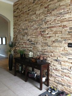 Beau Faux Stone Walls, Stone Accent Walls, Bathroom Wall, Wall Ideas, Foyer,