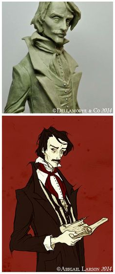 Edgar Allan Poe Sculpt by Michael Locascio of Dellamorte & Co. based on art by Abigail Larson