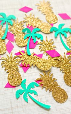 Check out this item in my Etsy shop https://www.etsy.com/listing/266527309/gold-pineapple-palm-tree-confettitable