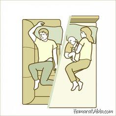 Bebekli bir ailenin uyku pozisyonu
