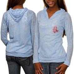 Boston Red Sox Ladies Hooded Long Sleeve Premium Burnout T-shirt - Light Blue @Fanatics ® #fanaticswishlist