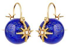 Diamond, lapis lazuli and 14 karat gold star earrings.