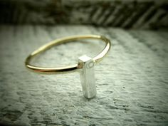 Custom Initial Rectangle Bar Ring- Personalized 14K Gold Filled & Silver Ring By Pale Fish NY. $38.00, via Etsy.
