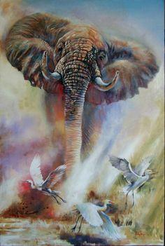 elephant painting on large canvas