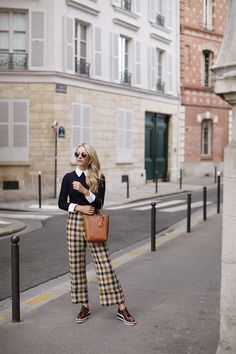 Plaid pants and a cable sweater // Wearing Sea NY, Prada, and Ralph Lauren // Preppy outfit ideas, click through for more! Paris Outfits, Preppy Outfits, Preppy Style, Classy Outfits, Stylish Outfits, Fall Outfits, Fashion Outfits, Fashion Boots, Autumn Fashion 2018