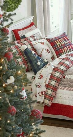 Christmas Bedding : Get their room holiday ready with this merry Heritage Christmas Quilt, featuring wintry Christmas scenes woven from cotton. They'll go to sleep snug with visions of sugar plums dancing in their heads as they await Santa's arrival.