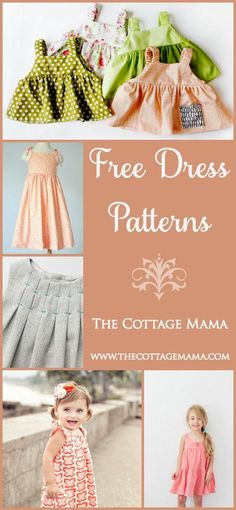 Dress Patterns for Girls (The Cottage Home) Sewing for little girls is so much fun! Today I wanted to share some free dress patterns for. Today I wanted to share some free dress patterns for. Sewing Kids Clothes, Sewing For Kids, Baby Sewing, Diy Clothes, Free Clothes, Style Clothes, Pretty Clothes, Summer Clothes, Sewing Patterns Free