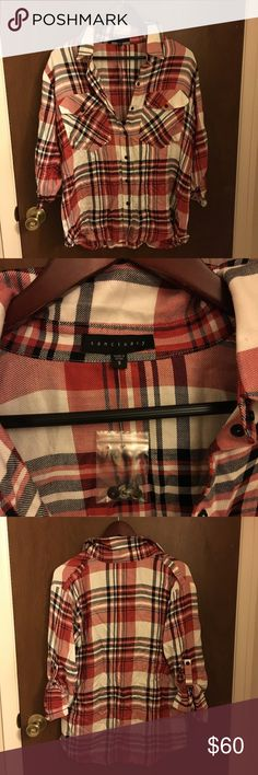 Sanctuary Plaid Button Up Shirt Anthropologie Sanctuary Red, White, Cream, Grey, Black & Burgundy Soft Boyfriend Plaid Button Down Blouse. Size Small but runs Large. Will fit a size Medium easily. NWOT. 🍄Please send reasonable offers through the offer button!🍄 Sanctuary Tops Button Down Shirts