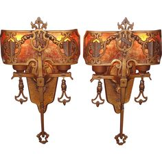 1920s Tudor Gothic Sconces with New Mica Shade ADA compliant from Antique & Vintage Lighting on RubyLane.com