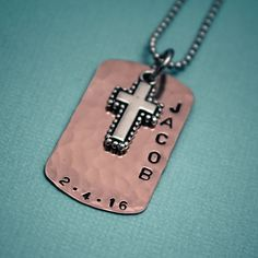 Boys Cross Necklace,First Communion Gift, Copper Dog Tag Cross Necklace for Boys, Personalized #CrossJewelry #CrossNecklace #Communion #ConfirmationGift #TracyTayanDesigns #BaptismNecklace #HandStampedJewelry #BoysNecklace #Confirmation #BoysConfirmation