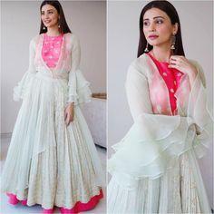 Beautiful Chiffon Dress with modern+ traditional silhouettes and superb embellishments. Patiala, Churidar, Anarkali, Salwar Kameez, Lehenga, Sarees, Sharara, New Designer Dresses, Indian Designer Outfits