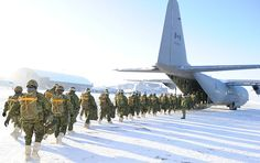 Candidates on a Basic Jump Course being led by Third Battalion, Princess Patricia's Canadian Light Infantry, walk to the back of a waiting Hercules tactical aircraft at the Edmonton Shell Aerocentre on February Photo by: MCpl VanPutten Royal Canadian Navy, Canadian Army, Military Police, Military Aircraft, Armed Forces, Forces Armées, C130 Hercules, Modern Warfare, Photos Of The Week