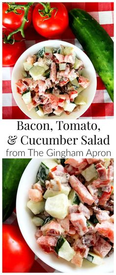 Bacon, Tomato, & Cucumber Salad- a perfect, healthy, delicious way to enjoy late summer vegetables.