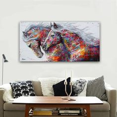 (1) The Two Running Horse Canvas Art Horse Canvas Painting, Diy Canvas Art, Horse Paintings, Bedroom Canvas, Running Horses, Diy Arts And Crafts, Abstract Wall Art, Canvas Prints, European Style