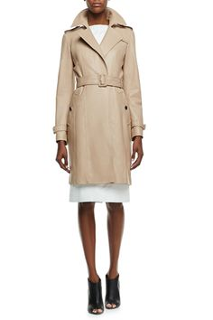 """Department stores are your best bet. """"We've seen discounts trigger on the Burberry trench at almost every major department store, including Nordstrom, Neiman Marcus, Saks, and Bloomingdale's, which currently has select styles on sale for up to 30% off.""""  Burberry London Leather No-Button Trenchcoat, $2,995, available at Neiman Marcus."""