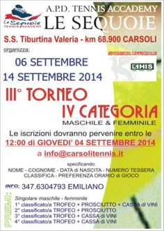 A Venditti Andrea  e Taborra Federica la vittoria nel Torneo di Tennis di 4° categoria  di Carsoli