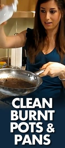 Add a few drops of dish soap and 1 tablespoon of baking soda to the pan, then fill it ¼ full with water. Put the pan on high and let it simmer for a while. Then CAREFULLY pour the hot liquid down the drain. Add another tablespoon of baking soda to the pan (no water) and use either a toothbrush or double-sided sponge to scrape away stuck on grease. Rinse with water and enjoy.