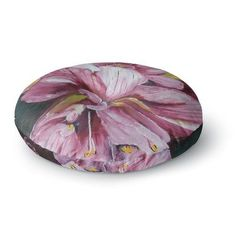 """East Urban Home Cathy Rodgers Day Lily Blooms Flower Round Floor Pillow Size: 26"""" x 26"""""""