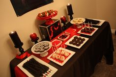 Twilight Party treat table-- like the apple candle holders best