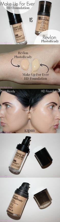 Revlon Photoready Foundation VS Make Up For Ever HD Foundation Review and Photos http://pinkparadisebeauty.blogspot.co.uk/2015/05/revlon-photoready-foundation-vs-make-up.html